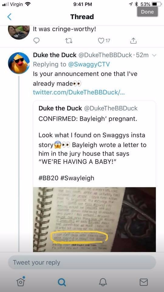 Big Brother 20: Swaggy C - Bayleigh Dayton pregnant