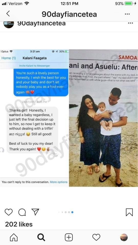 90 Day Fiance': Kalani Messages Asuelu's Other Woman - Hid