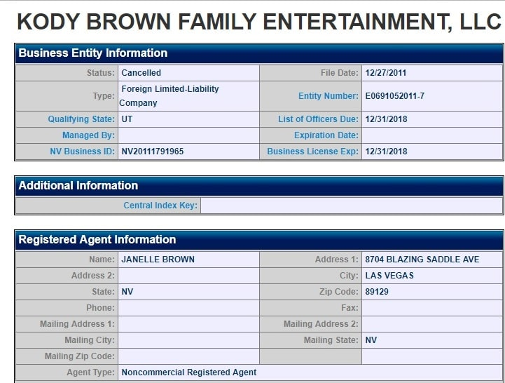 Sister Wives: Kody Brown Family Entertainment LLC