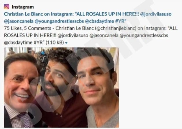 Young and the Restless: Michael Baldwin (Christian LeBlanc) - Arturo Rosales (Jason Canela) - Rey Rosales (Jordi Vilasuso)