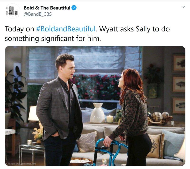 Bold and the Beautiful Spoilers: Wyatt Spencer (Darin Brooks) - Sally Spectra (Courtney Hope)