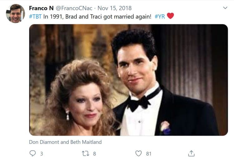 Young and the Restless Spoilers: Traci Abbott (Beth Maitland) - Brad-Carlton (Don Diamont)