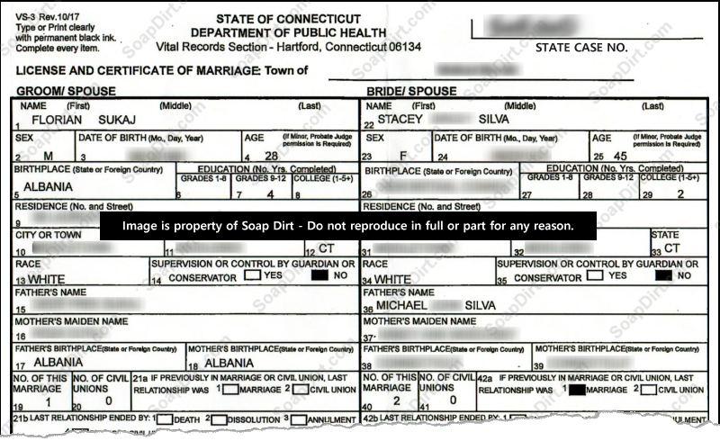 90 Day Fiance: Stacey Silva - Florian Sukaj - Marriage License Certificate