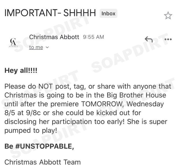 Big Brother 22; Christmas Abbott