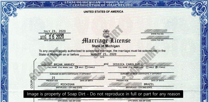 90 Day Fiance: Jess Caroline - Brian Hanvey - Marriage License