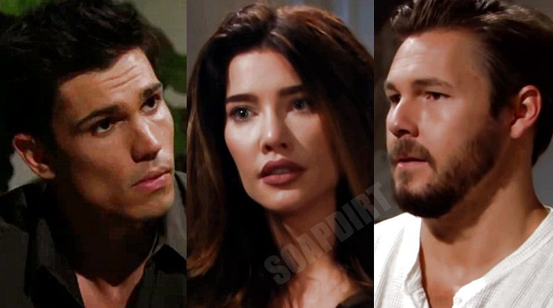 """Bold and the Beautiful Spoilers: Steffy Forrester (Jacqueline MacInnes Wood) - Liam Spencer (Scott Clifton) - John Finnegan """"Finn"""" (Tanner Novlan)"""